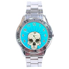 Skull Ball Line Schedule Stainless Steel Analogue Watch