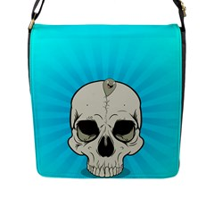 Skull Ball Line Schedule Flap Messenger Bag (L)