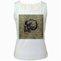 Skull Women s White Tank Top