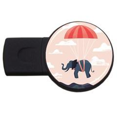 Digital Slon Parashyut Vektor USB Flash Drive Round (2 GB)