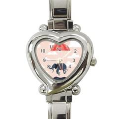 Digital Slon Parashyut Vektor Heart Italian Charm Watch