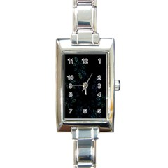 Fractal Pattern Black Background Rectangle Italian Charm Watch