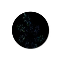 Fractal Pattern Black Background Magnet 3  (Round)