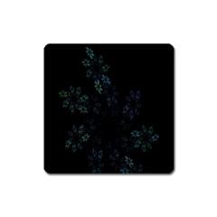 Fractal Pattern Black Background Square Magnet