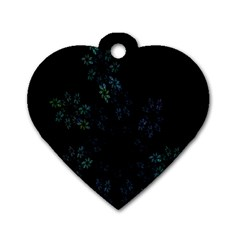 Fractal Pattern Black Background Dog Tag Heart (two Sides)