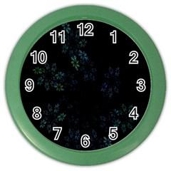 Fractal Pattern Black Background Color Wall Clocks