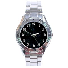 Fractal Pattern Black Background Stainless Steel Analogue Watch
