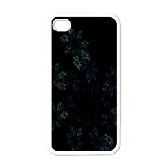 Fractal Pattern Black Background Apple iPhone 4 Case (White)