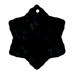 Fractal Pattern Black Background Snowflake Ornament (Two Sides)