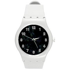 Fractal Pattern Black Background Round Plastic Sport Watch (M)
