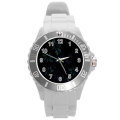 Fractal Pattern Black Background Round Plastic Sport Watch (l)