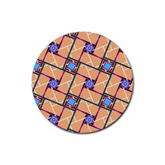 Overlaid Patterns Rubber Coaster (Round)
