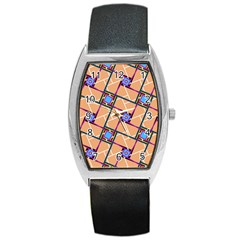 Overlaid Patterns Barrel Style Metal Watch