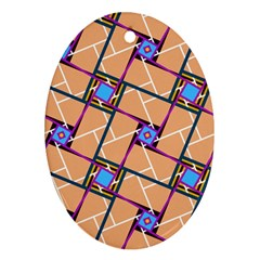 Overlaid Patterns Oval Ornament (Two Sides)