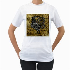 Vintage rooster  Women s T-Shirt (White) (Two Sided)