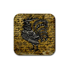 Vintage rooster  Rubber Coaster (Square)
