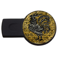 Vintage rooster  USB Flash Drive Round (2 GB)