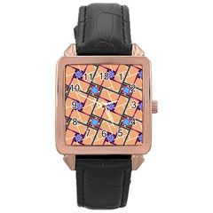 Overlaid Patterns Rose Gold Leather Watch