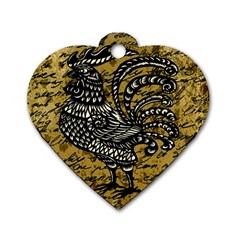Vintage rooster  Dog Tag Heart (Two Sides)