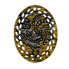 Vintage rooster  Oval Filigree Ornament (Two Sides)