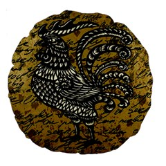 Vintage rooster  Large 18  Premium Round Cushions