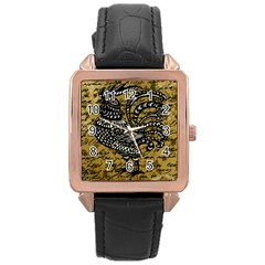 Vintage rooster  Rose Gold Leather Watch