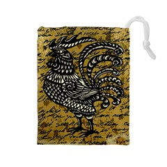 Vintage rooster  Drawstring Pouches (Large)
