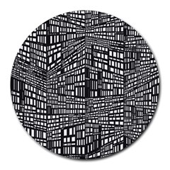 Recursive Subdivision Between 5 Source Lines Screen Black Round Mousepads