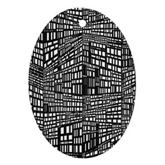 Recursive Subdivision Between 5 Source Lines Screen Black Ornament (Oval)