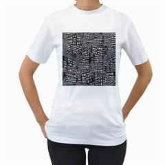 Recursive Subdivision Between 5 Source Lines Screen Black Women s T Shirt (white) (two Sided)