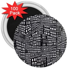 Recursive Subdivision Between 5 Source Lines Screen Black 3  Magnets (100 pack)