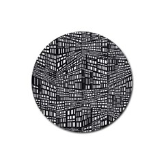 Recursive Subdivision Between 5 Source Lines Screen Black Rubber Round Coaster (4 pack)