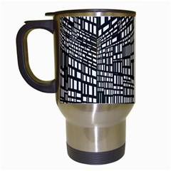 Recursive Subdivision Between 5 Source Lines Screen Black Travel Mugs (White)