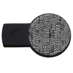 Recursive Subdivision Between 5 Source Lines Screen Black USB Flash Drive Round (4 GB)