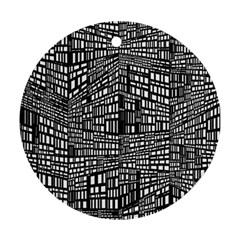 Recursive Subdivision Between 5 Source Lines Screen Black Round Ornament (two Sides)