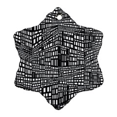 Recursive Subdivision Between 5 Source Lines Screen Black Snowflake Ornament (Two Sides)