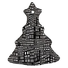 Recursive Subdivision Between 5 Source Lines Screen Black Christmas Tree Ornament (Two Sides)