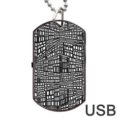 Recursive Subdivision Between 5 Source Lines Screen Black Dog Tag USB Flash (One Side)
