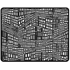 Recursive Subdivision Between 5 Source Lines Screen Black Double Sided Fleece Blanket (Medium)