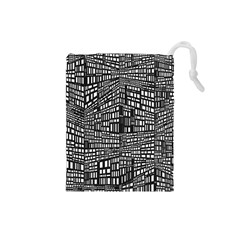 Recursive Subdivision Between 5 Source Lines Screen Black Drawstring Pouches (small)