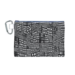 Recursive Subdivision Between 5 Source Lines Screen Black Canvas Cosmetic Bag (m)