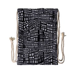 Recursive Subdivision Between 5 Source Lines Screen Black Drawstring Bag (small)