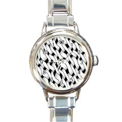 Black And White Pattern Round Italian Charm Watch