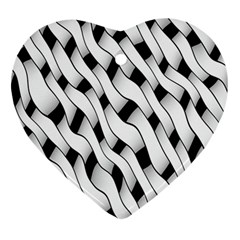 Black And White Pattern Ornament (Heart)