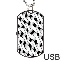 Black And White Pattern Dog Tag Usb Flash (one Side)