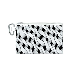 Black And White Pattern Canvas Cosmetic Bag (S)