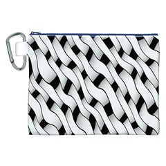 Black And White Pattern Canvas Cosmetic Bag (xxl)