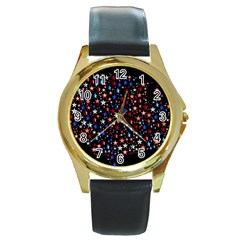 America Usa Map Stars Vector  Round Gold Metal Watch