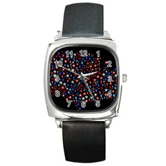America Usa Map Stars Vector  Square Metal Watch