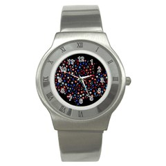 America Usa Map Stars Vector  Stainless Steel Watch
